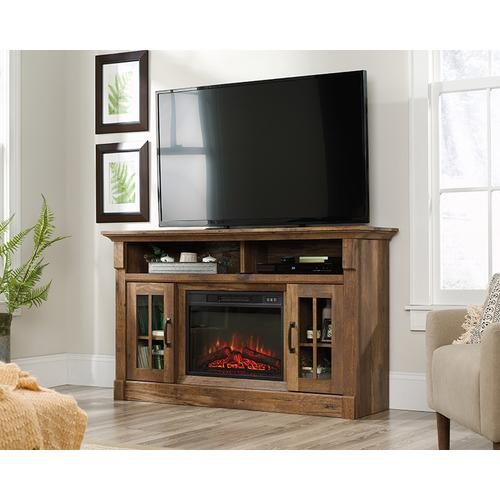 Fireplace TV Credenza with Glass Doors