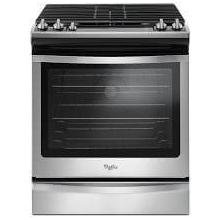 """""""IN WHSE"""" MOD # WEG745H0FS-DS S/N 2689 """"NEW OUT OF BOX"""" 30 Inch Slide-In Gas Range with True Convection, Temperature Sensor, Rapid Preheat, 5 Sealed Burners, 5.8 cu. ft. Capacity, Convection Conversion, Frozen Bake Technology, Hinged Cast-Iron Grates, ADA Compliant and Sabbath Mode: Black-on-Stainless"""