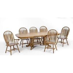 Laminate Top Double Pedestal Table and Solid Oak Chairs