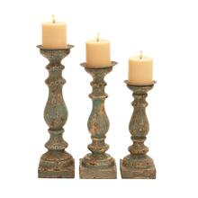DISTRESSED WOOD CANDLE HOLDERS 3PC SET