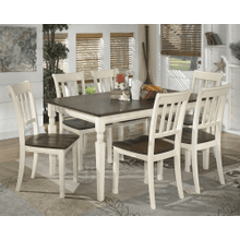 Whitesburg - Brown/Cottage White - 7 Pc. - Rectangular Table & 6 Side Chairs