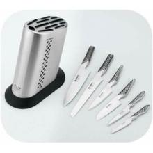 Global G-836/B Stainless Steel Knife Block with 6-Piece Knife Set