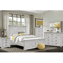CROSSING LAKE 4 PC Bedroom Group - Qu Bed,Dresser,Mirror,N. Stand -   (41**-0786)