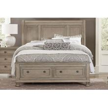 HOMELEGANCE 2259KB Bethel Sleigh Platform Storage Bed - Wire-brushed Gray King Bed