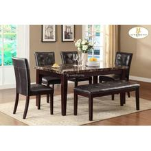 Teague 6 Piece Dinning, Faux Marble Top