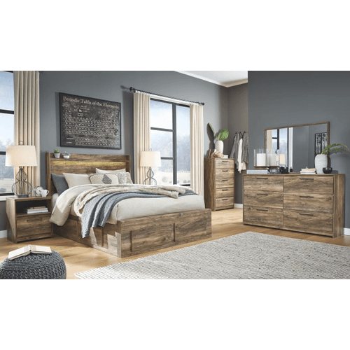 Rusthaven- Brown- Dresser, Mirror, Chest, Nighstand & Queen Panel Bed with 6 Storage Drawers