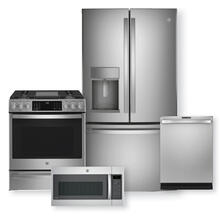 "GE PROFILE 27.7 Cu. Ft. French-Door Refrigerator & 30"" Smart Free-Standing Electric Convection Range Package"