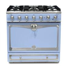 "CornuFe 90 cm Dual-Fuel Range (36"")- Provence Blue w/ Satin Chrome Trim"