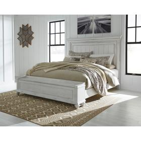 Kanwyn Cal King Panel Bed W/Storage Footboard Whitewash
