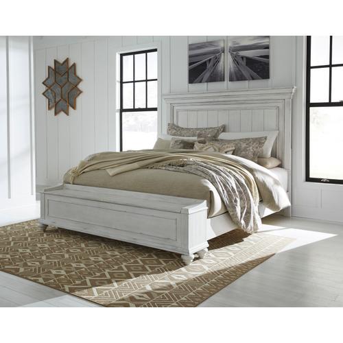 Benchcraft - Kanwyn Cal King Panel Bed W/Storage Footboard Whitewash