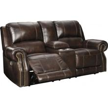 Buncrana Chocolate Power Reclining Leather Loveseat