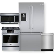 """See Details - Stainless Steel 36"""" Counter Depth French Door Refrigerator & Gas Slide-in Range- 4 Piece Package"""