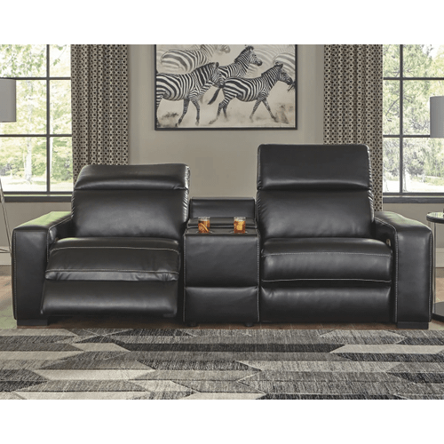 Mantonya - Midnight - 2 Power Recliner Sectional with Center Console