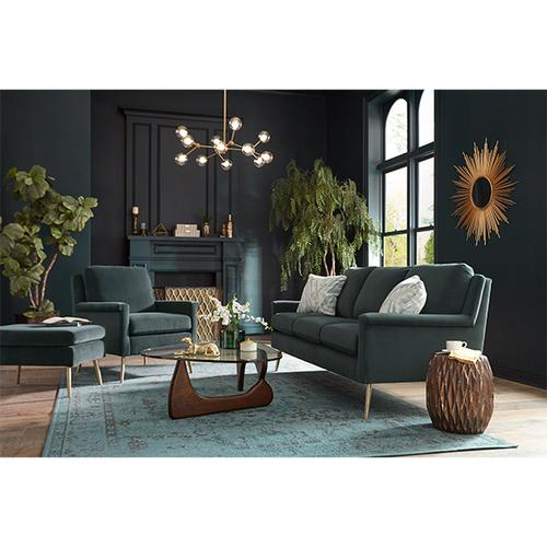 Best Home Furnishings - Navy Blue Velvet Dacey Sofa and Chair