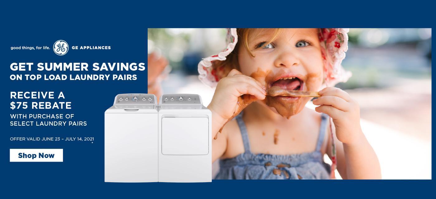 GE Appliances $75 Top Load Laundry June-July 2021
